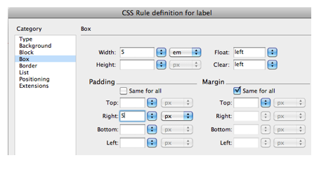 CSS rule definition window.