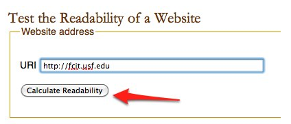 Text box for entering URL of site to be checked with Juicy Studio Readability Test.
