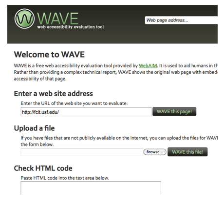 WAVE Options for checking a site: Enter a website address, Upload a file, Check a section of code.