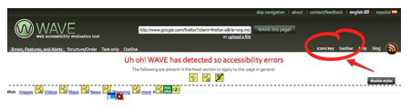WAVE results with icon keys link at top of page highlighted.