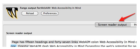 Using the Fangs Screen Reader Emulator » Web Accessibility