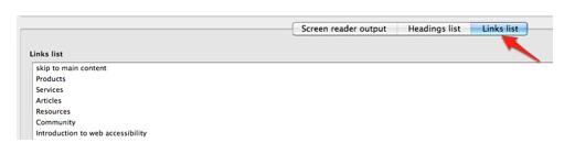 Fangs Links list tab.