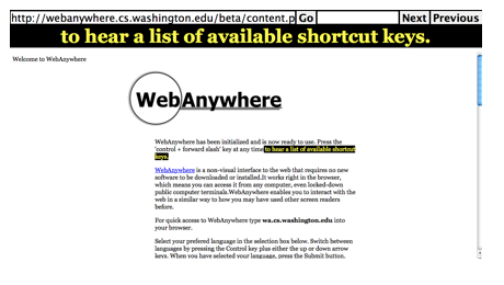 Screenshot of WebAnywhere page.