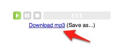 VozMe playback controls and link to download MP3 file.