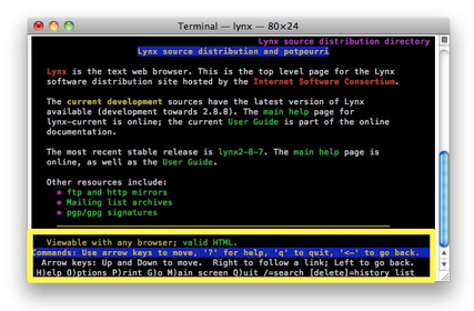 Screenshot of lynx running in Terminal window.