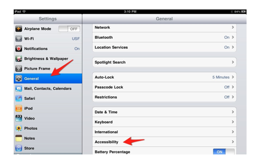 General, Accessibility in IOS Settings App.