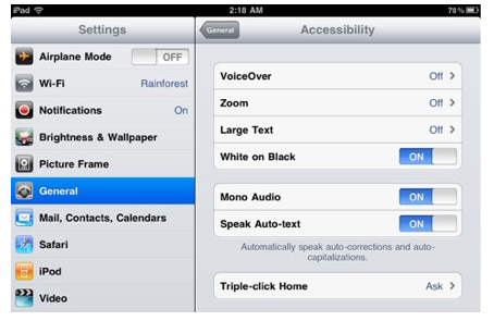 Accessibility options found under General, Accessibility in Settings app.