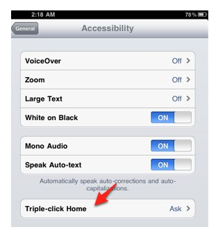 Triple-click Home option found under General, Accessibility in Settings app.