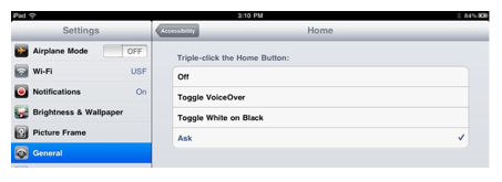 Options for Triple-click Home.