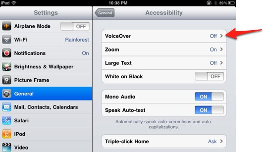 Settings app: General, Accessibility, VoiceOver.