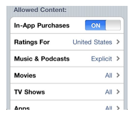 Options for Allowed Content.