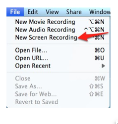 File, New Screen Recording in QuickTime Player.
