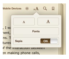 Fonts button in iBooks with options for text size, fonts and page background.