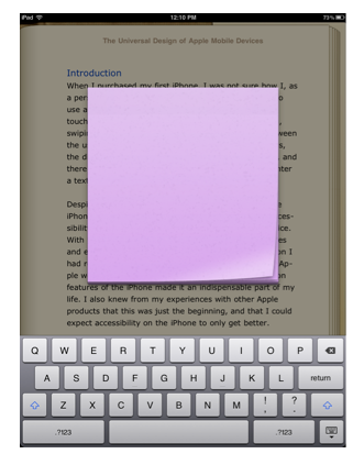 Popup for adding note text in iBooks.