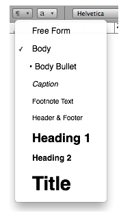 Styles menu on Pages toolbar.