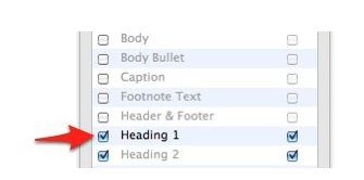 Checkboxes to left of styles in TOC tab add items to table of contents.