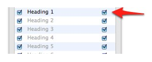 Checkboxes for turning off page numbers on right side of TOC tab.