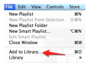 Select File, Add to Library in iTunes.