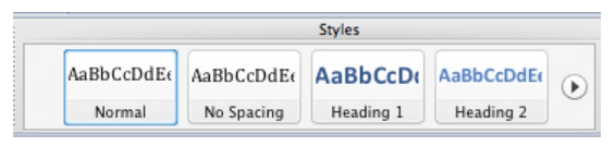 Styles section in Home tab of Microsoft Word Ribbon