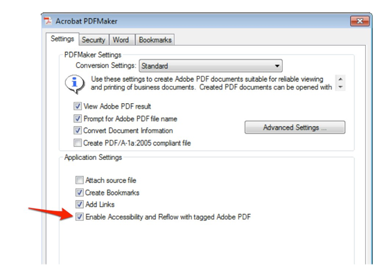 Adobe PDF Maker Preferences window.