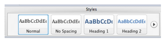 Styles section of the Home tab in the Ribbon.