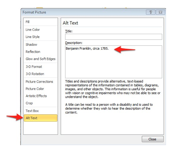 Alt text tab in Format Picture dialog window.