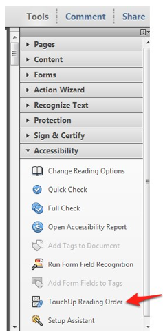 Tools, Accessibility, Touch Up Reading Order.