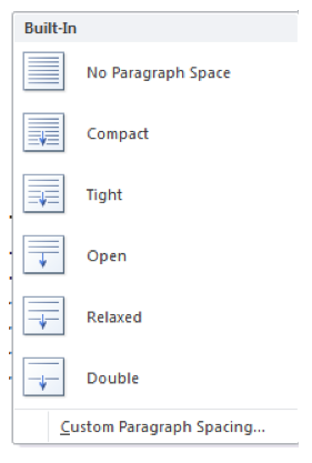 Paragraph Spacing submenu, with Custom Paragraph Spacing at the bottom of the list.