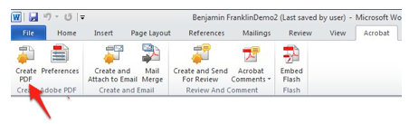 Create PDF Button in Adobe tab of the Ribbon.