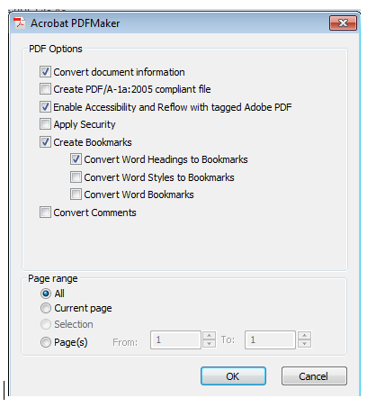 PDFMaker preferences available when clicking Optioins in the Save As window.