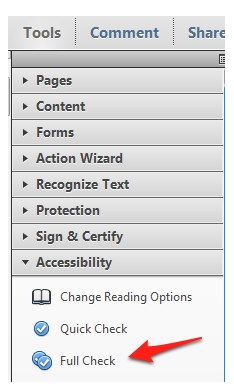 Tools, Accessibility, Full Check in Adobe Acrobat X.
