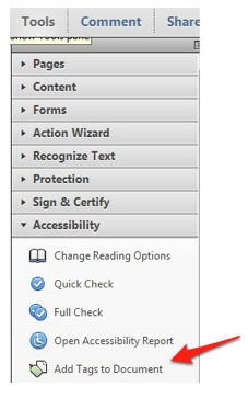 Tools, Accessibility, Add Tags to Document in Adobe Acrobat X